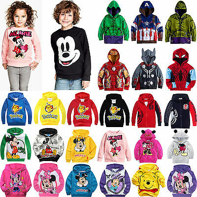 Kids Boys Girls Avengers Cartoon Hoodie Sweatshirt Jumper Top Hooded Jacket Coat
