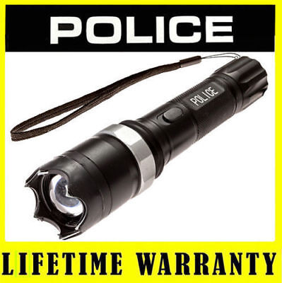 POLICE Metal Stun Gun Rechargeable T10 78 BV With LED Flashlight Taser Case