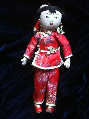 Vintage Ada Lum Style Doll Chinese Mother With Child Marked Made in Hong Kong