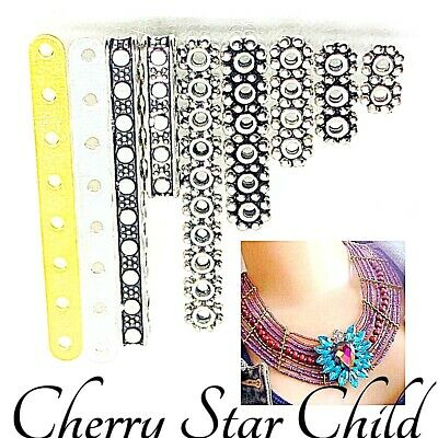 silver gold pl multi hole invisible spacer bead bars to separate strands x4 x8