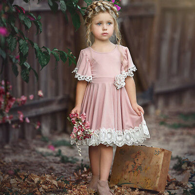 Flower Girl Dress Lace Floral Baby Party Dress Gown Formal Dresses Sundress AU