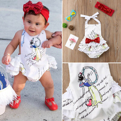 Newborn Baby Girls Backless Romper Jumpsuit Playsuit Sunsuit Clothes Outfits USA