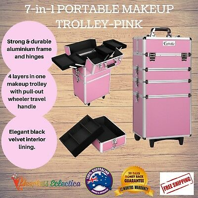 7in1 Portable Beauty Makeup Cosmetics Organiser Professional Trolley Case Pink