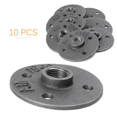 10x 1/2'' Malleable Threaded Floor Iron Flange Pipe Fitting Wall Mount 4 Holes u