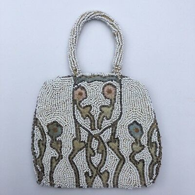 Vintage Antique Bridal Clutch Bag Mother Of Pearl Beaded Embroidered Art Deco