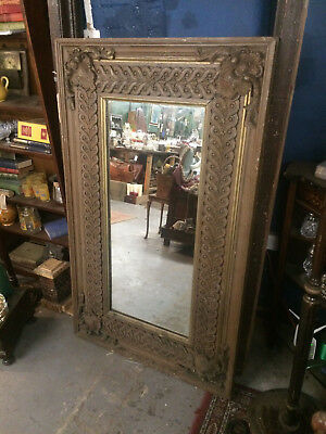 Antique Gilt Carved Wood, Oak Framed Mirror with fixings.