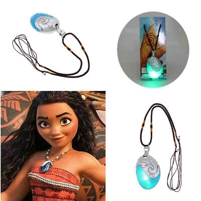 Princess Moana Necklace Glowing Music Cosplay Heart of Tie Fit Girl Pendant Gift