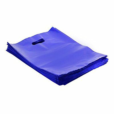 """200 RETAIL SHOPPING BAGS Merchandise Plastic Bags with HANDLES 9x12"""" Glossy New"""