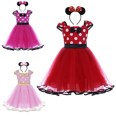 Minnie Mouse Polka Dot Fancy Dress Up Headband Party Costume for Kid Baby Girls