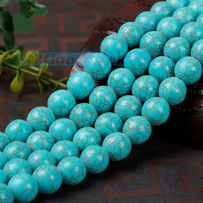 Natural turquoise Stone Round Spacer Loose Beads Gemstone Fashion Craft Jewelry