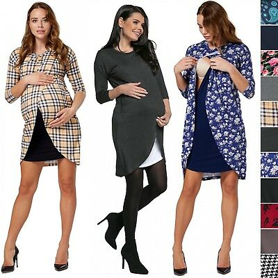 Happy Mama. Women's Maternity Nursing Wrap Dress 3/4 Sleeves. Double Layer. 033p