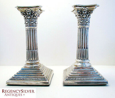 Antique VICTORIAN CORINTHIAN Sterling Silver English Candlesticks Candle holders