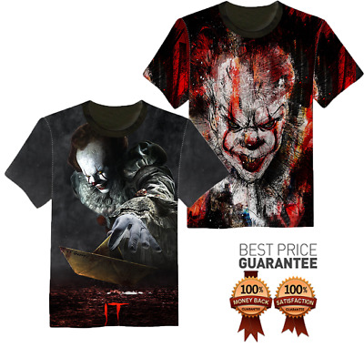 New 3D T-Shirt It Pennywise Stephen King Horror The Clown Full Print Movie 2017