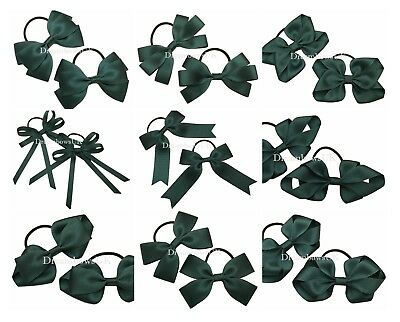 Bottle green school hair bows on thin bobbles/clips, bottle green toddler bows