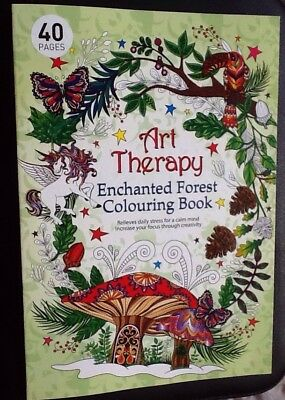 NEW Art Therapy Adults colouring book Creative Anti Stress Enchanted Forest