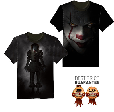 New 3D T-Shirt It Pennywise Stephen King Horror The Clown Full Print Tee Style