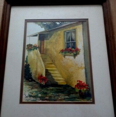 Painting by C J Caldwell, Watercolor of House and Steps Framed in Glass