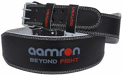 "Aamron ® 4"" Weight Lifting Leather Belt Back Support Gym Power Fitness Training"