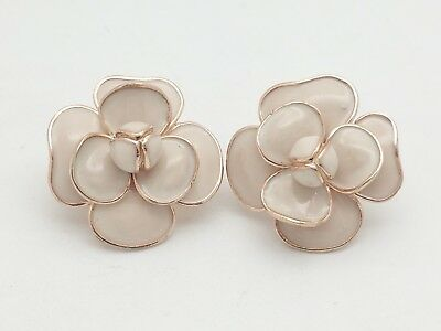 23f8a3b7e ITALY STERLING SILVER Rose Gold Tone Floral Flower Beige Enamel Stud  Earrings - $39.99 | PicClick