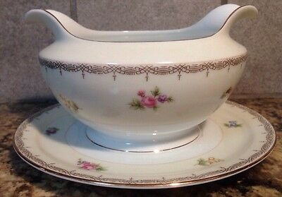 Meito Japan V2070 Fine China Gravy Boat w Under Plate Floral Swags Vintage