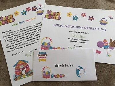 Personalised Letter from the Easter Bunny Rabbit and Certificate