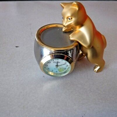 Elgin Gold And Silver tone Cat On Fish Bowl miniature clock - works!