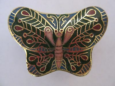 Old Chinese Cloisonne Enamel, Pill Trinket Jewelry Box Butterfly Design