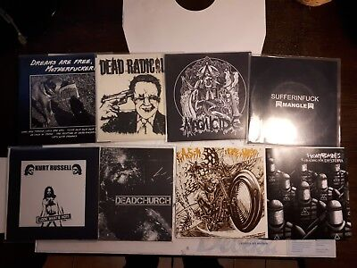"8 x Grindcore/ Powerviolence 7"" insect warfare agathocles napalm death spazz"