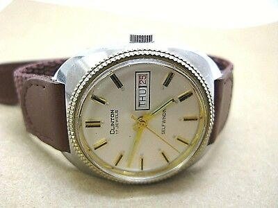 Clinton Swiss made men watch 17 jewel selfwinding automatic day date watch