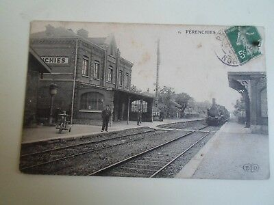 Vintage Old Postcard - Railway Station Perenchies France Franked c.1908   §A878