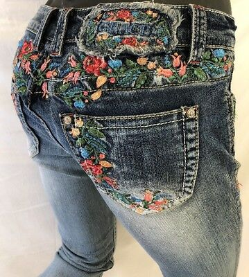 Womens GRACE in LA Jeans FLORAL ROSES Stitch Skinny Leg CUT OFF BOTTOMS 61087