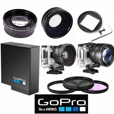 Gopro Hero6 Black Wide Angle Lens+Telephoto Zoom Lens + Aabat-001+3 Hd Filters