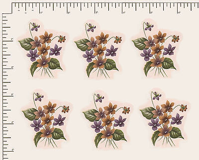 """6 x Waterslide Ceramic decals.Violets Flowers Floral 2"""" x 1 3/4""""  PD992"""