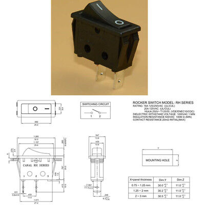 Canal RH Series Rocker Switch 2 Position ON-OFF 20 A 16 A 125VAC 250VAC