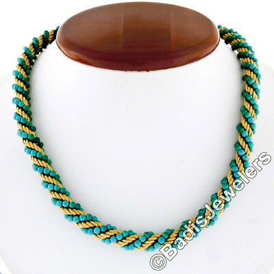 Vintage 18K Yellow Gold Textured Twisted Rope Turquoise Bead Link Chain Necklace