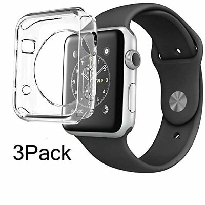 Apple Watch Case (3 Packs) 38mm Screen Protector 0.3mm Thin Hard Crystal Clear