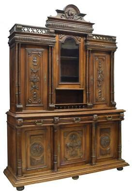 FRENCH HENRI II STYLE HEAVILY CARVED WALNUT CABINET / BUFFET,19th c(1800s)