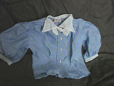 Vintage 50s Girls Childs Top Blouse BLUE GINGHAM Check NYLON 6 Little Charmer