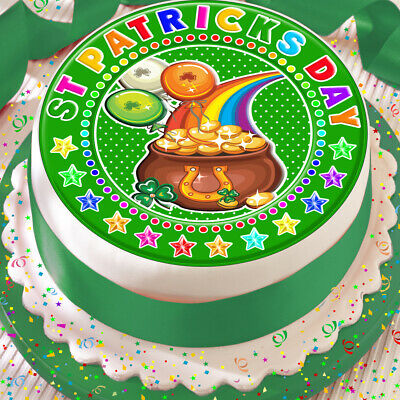 St Patricks Day Green Pot Of Gold Rainbow 7.5 Inch Precut Edible Cake Topper K22