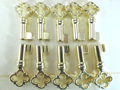 Old Vintage Style Keys Skeleton Open Barrel Keys - Brass Color (Lot of 10)