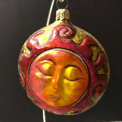 SLAVIC TREASURES Aztec Mayan Tranquil Sun 2 Faces Sides Glass Ornament