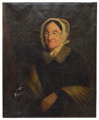 HANDSOME OIL ON CANVAS PAINTING PORTRAIT OF A ELDERLY WOMAN 19th century (1800s)