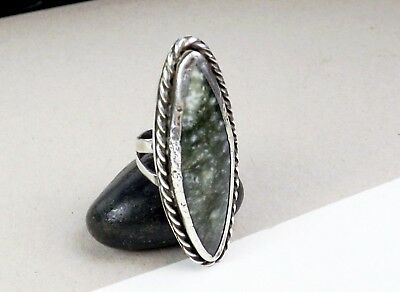 Long Sterling Silver Southwest Native American Green Seraphinite Size 7 1/2 Ring