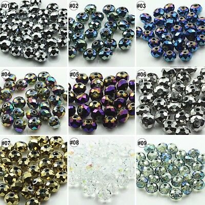 72pcs Plating Mixed Color Synthetic Crystal Gemstone Round Flat Beads 6x8mm