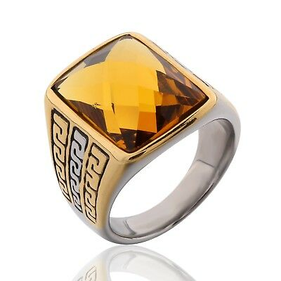 Men Princess Citrine Crystal Silver&Gold Stainless Steel Celtic Knot Thumb Rings