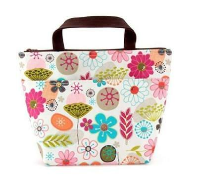Waterproof Flower Lunch Bag Tote Insulated Cooler Carry Bag for Travel Picnic