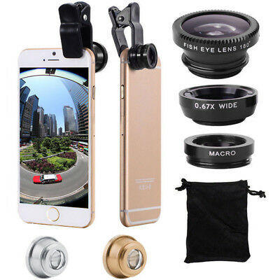 3in1 Universal Clip-On Camera Lens (Fish Eye/Wide Angle/Macro) for Cell Phone US