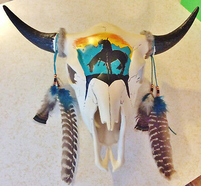 Ceramic Buffalo or Large Cow Skull Head w/ Handpainted End of Trail Design 24x19
