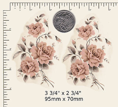 """2 x Waterslide ceramic decals Decoupage Peach floral spray 3 3/4"""" x 2 3/4"""" PD84a"""