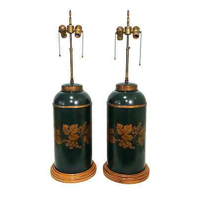 XL Vintage Mid-Century PAIR French Country Provincial Green Tole Canister Lamps